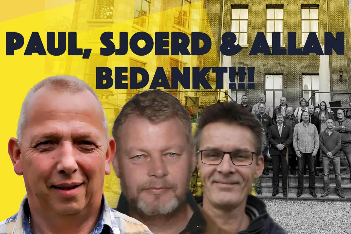 Afgelopen tijd zijn drie regiobestuurders gestopt met het verenigingswerk. Paul Uijtdehaage, Sjoerd Miedema en Allan Enting verzochten het bestuur ontheven te worden van hun functie.