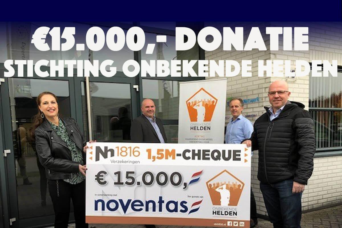 Noventas en Nh1816 Verzekeringen doneren € 15.000,- aan Stichting Onbekende Helde